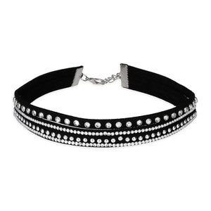 SAACHI Faux Leather Adjustable Choker w Crystals